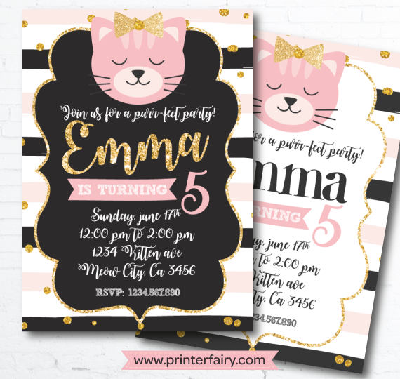 Kitty Cat Printable Invitations | Cat Party Ideas