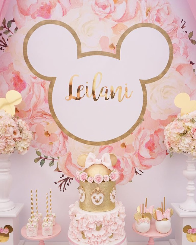 Pink and Gold Minnie Mouse First Birthday Party - Pretty ...