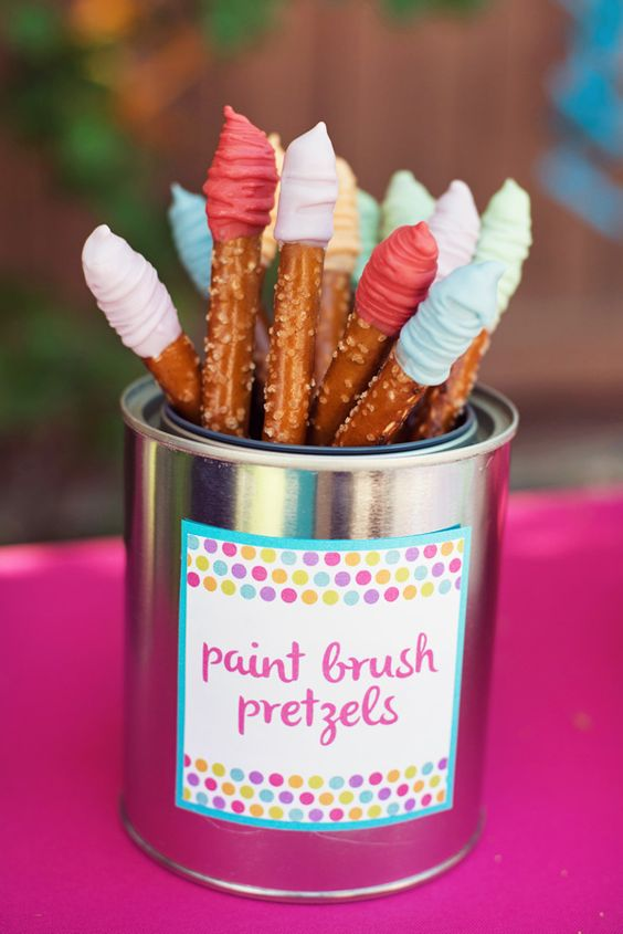 Paint Brush Pretzels | Paint Party Ideas