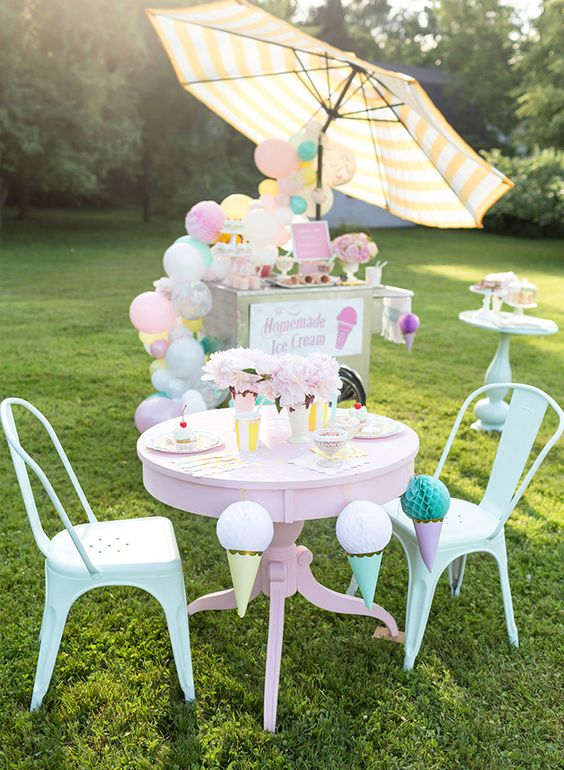 Kid's Pastel Ice Cream Party | Ice Cream Party Ideas