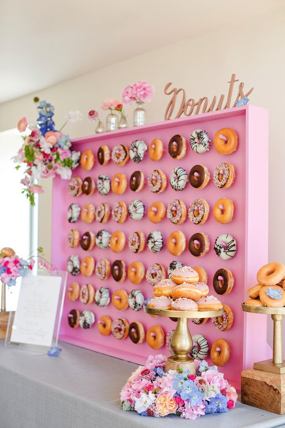 Pink Donut Wall Display | Donut Themed Party Ideas