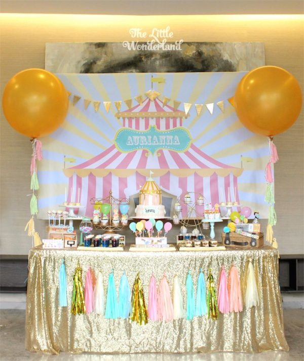 Pink Girly Carnival Dessert Table | Carnival Party Ideas