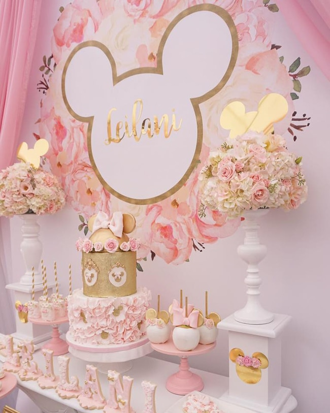 Pink And Gold Minnie Mouse First Birthday Party Sweets Table
