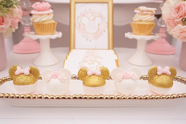Pink and Gold Minnie Mouse First Birthday Party Desserts