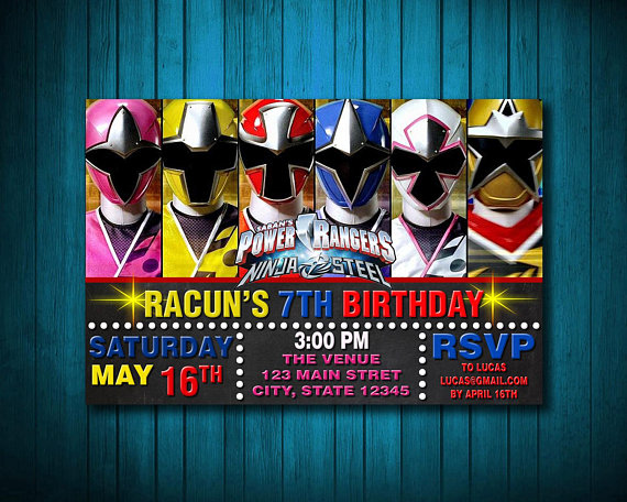 Ninja Steel Invitation Birthday Card Personalize Invitation Custom Card Cus Power Rangers Ninja Steel Power Ranger Birthday Party Power Ranger Birthday