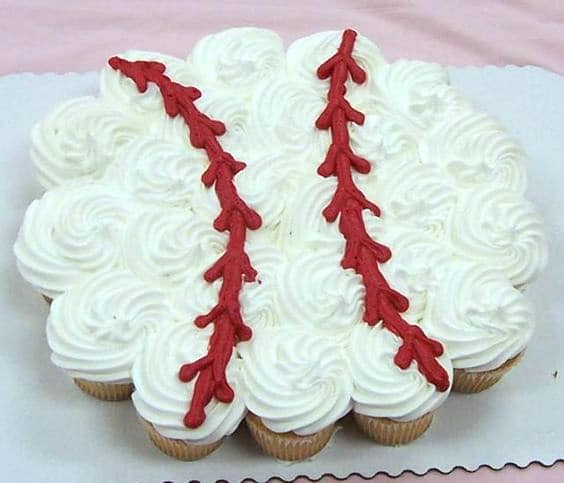 Baseball Cupcake Cake | Baseball Party Ideas