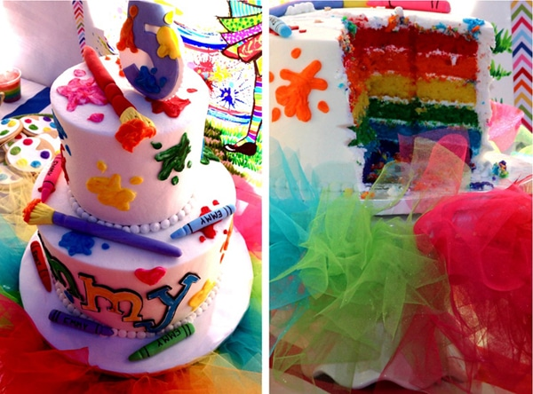 Rainbow Art Birthday Cake | Art Paint Party Ideas