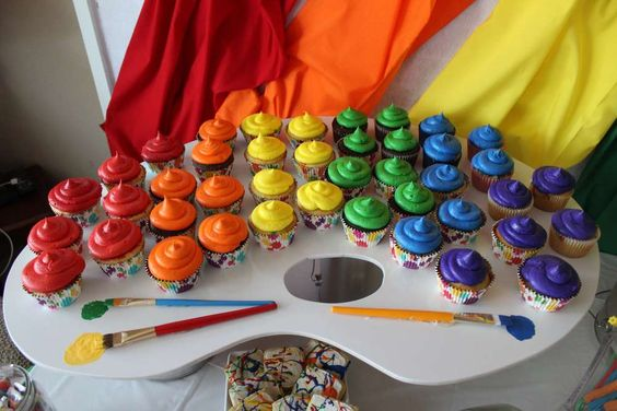 Rainbow Art Party Cupcakes | Kids Painting Party