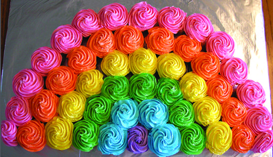 Rainbow Cupcake Cake | Rainbow Party Ideas