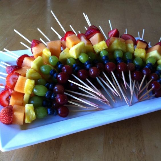 Rainbow Fruit Skewers | Rainbow Party Ideas