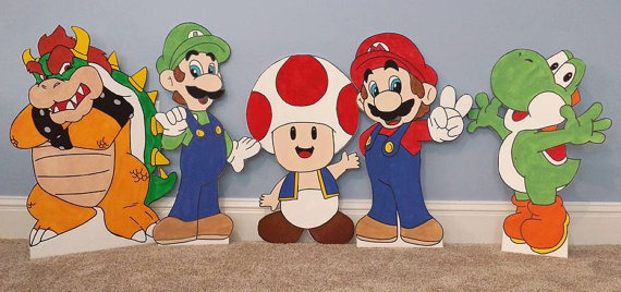 Super Mario Party Cutout Decorations | Super Mario Party Ideas