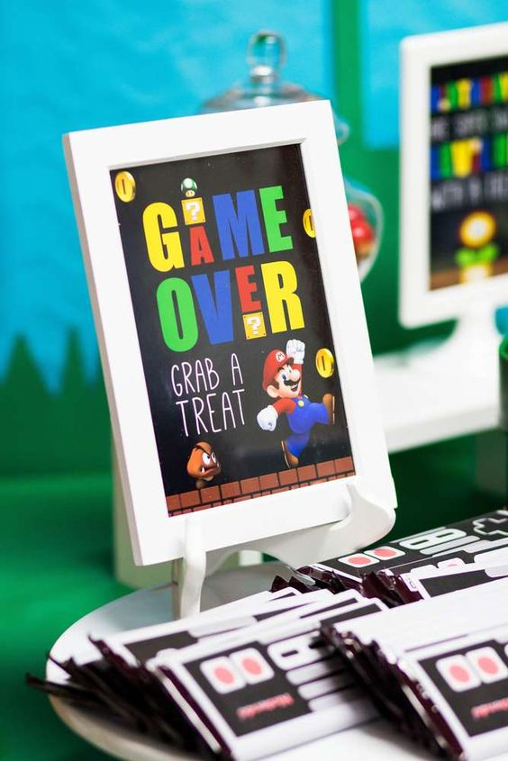 Game Over Treats Sign | Super Mario Party Ideas