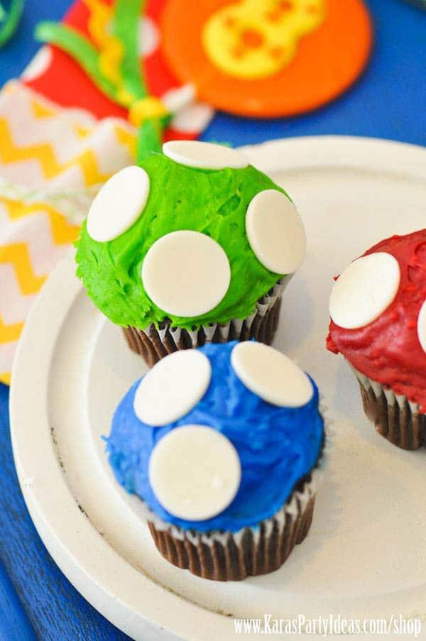 Super Mario Party Cupcakes | Super Mario Birthday Party Ideas