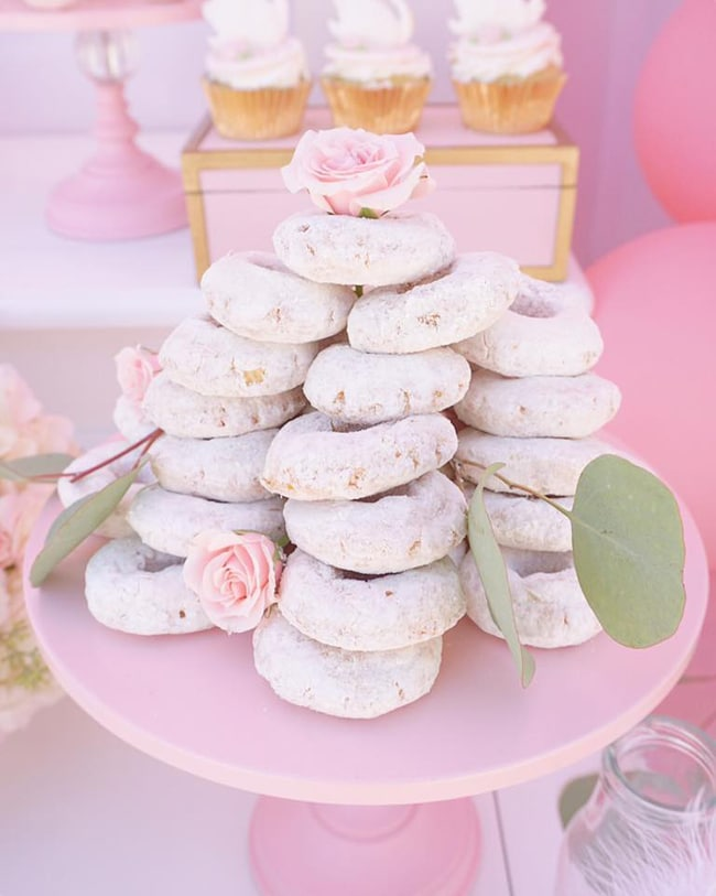 Pretty Swan Themed Birthday Donuts featured on Pretty My Party