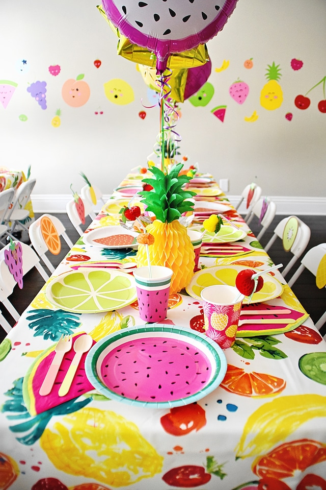Tutti Frutti Party Centerpieces, Balloons, Table Cover, Plates and Cups