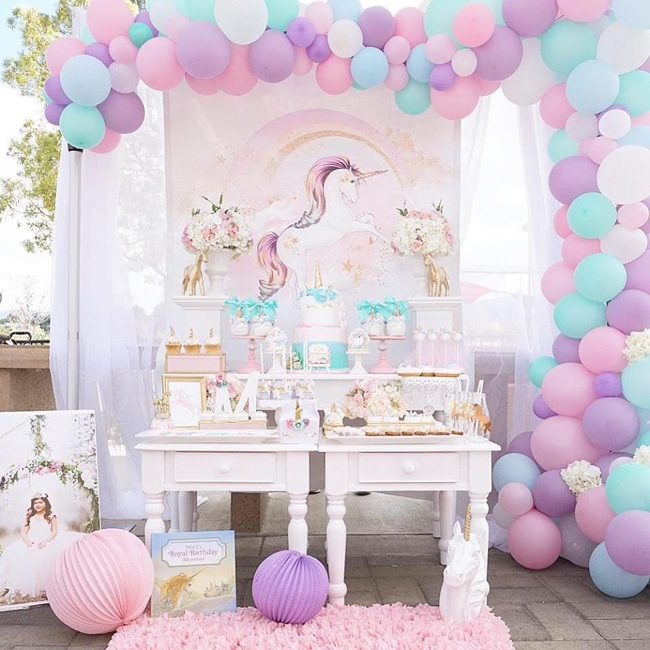 Pretty Pastel Unicorn Birthday Party Dessert Table Featured On My