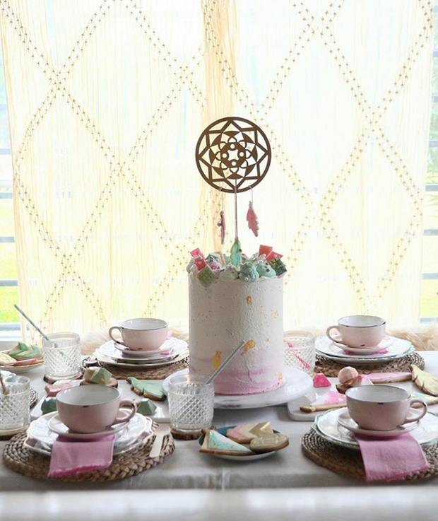 Boho Watercolor Themed Birthday Party featured on Pretty My Party