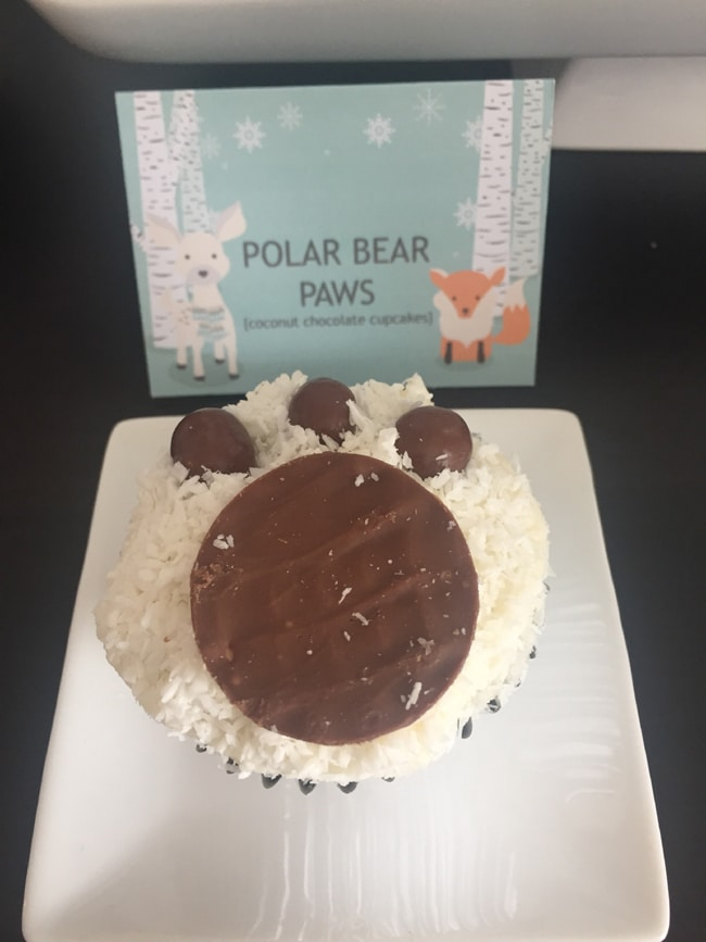 Winter Wonderland Party Polar Bear Paw Cupcakes