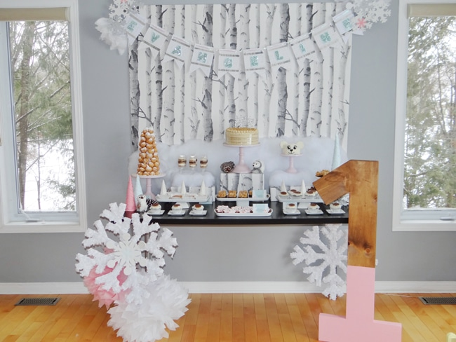 Winter Wonderland First Birthday Party Dessert Table