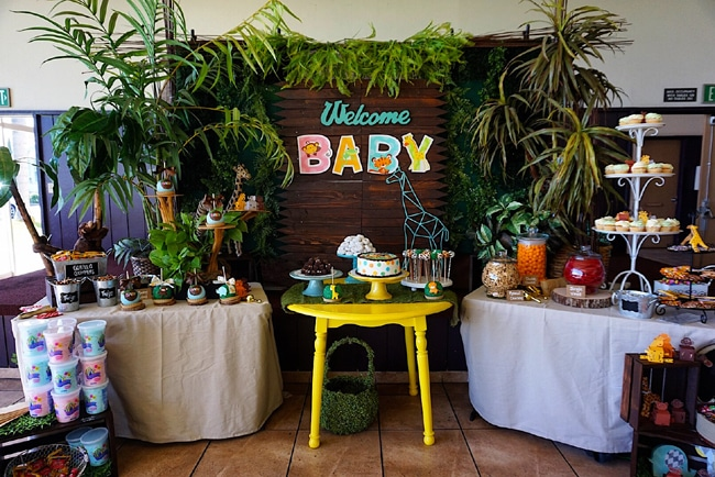 Great Animal Safari Themed Baby Shower Dessert Table