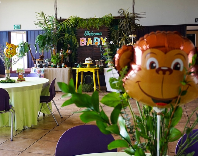 Animal safari themed baby shower pretty my party party for Baby shower party junge