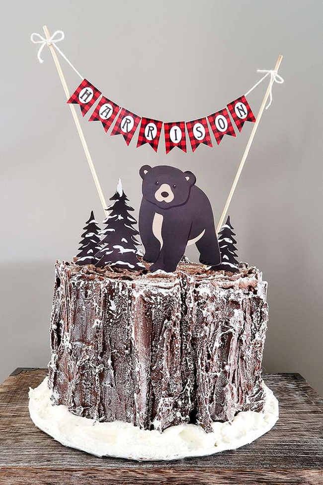 Baby Bear Lumberjack Birthday Cake | Lumberjack Party Ideas