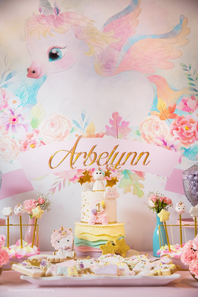Baby Unicorn Themed First Birthday Party Dessert Table On Pretty My