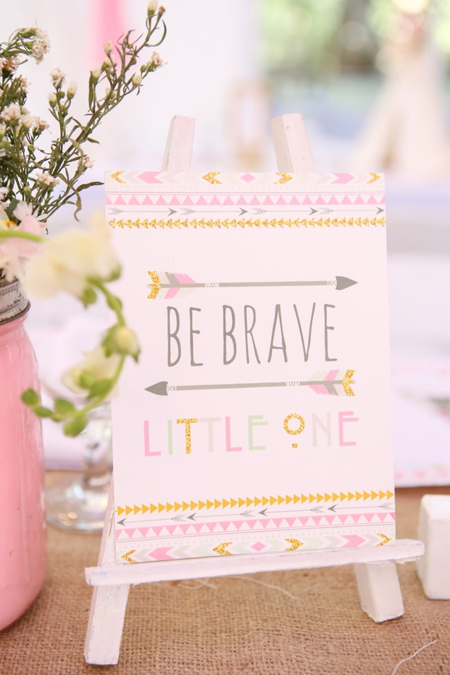 Be Brave Little One Party Sign