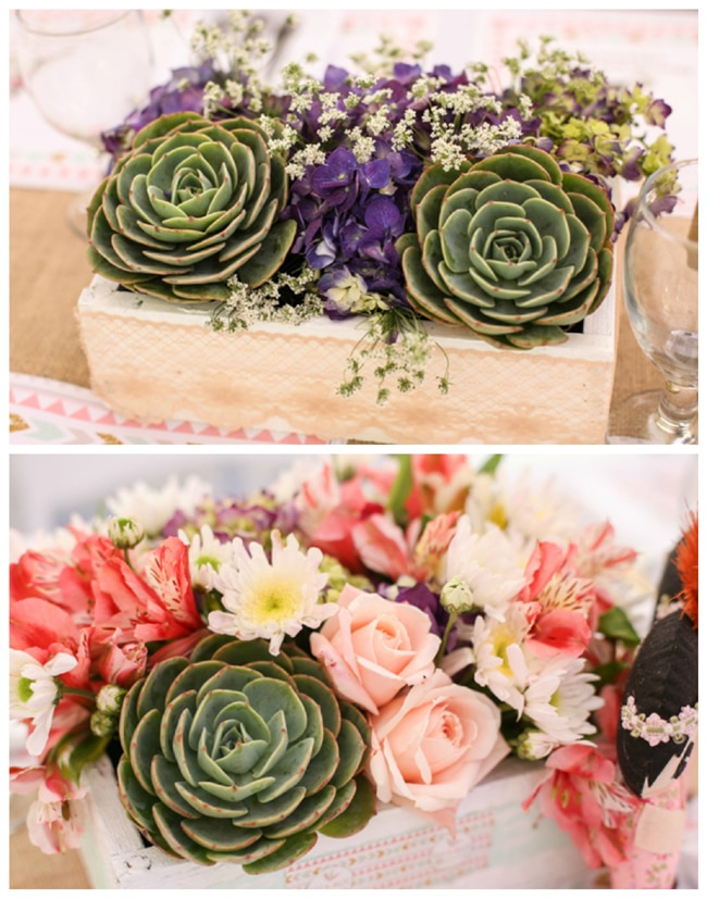 Boho Themed Party Succulents