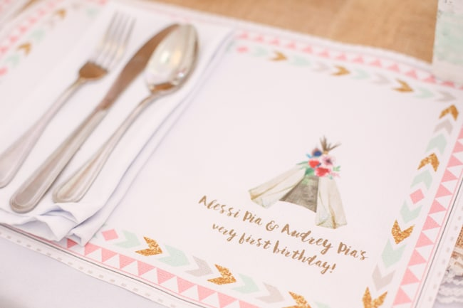 Twins Boho Themed 1st Birthday Party placemat
