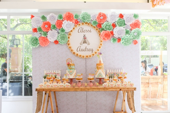 Twins Boho Themed 1st Birthday Party Dessert Table