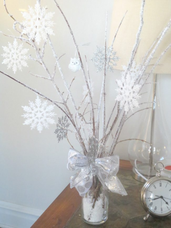 DIY Snowy Branches Centerpieces | Winter Wonderland Party Ideas