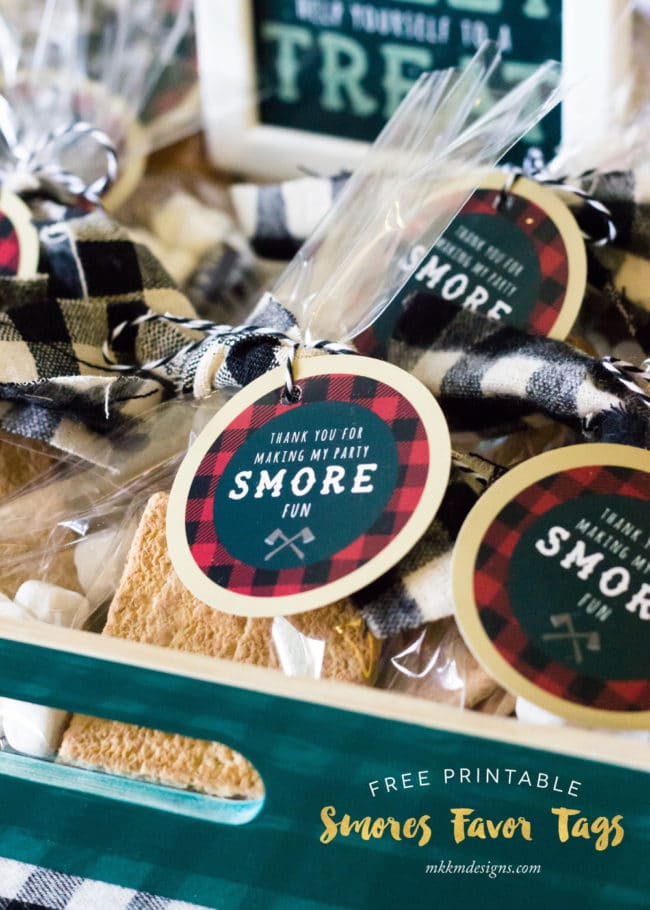 Free Printable S'mores Favor Tags | Lumberjack Party Ideas