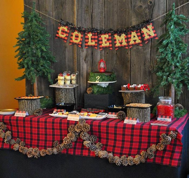 Lumberjack Dessert Table | Pinecone Garland