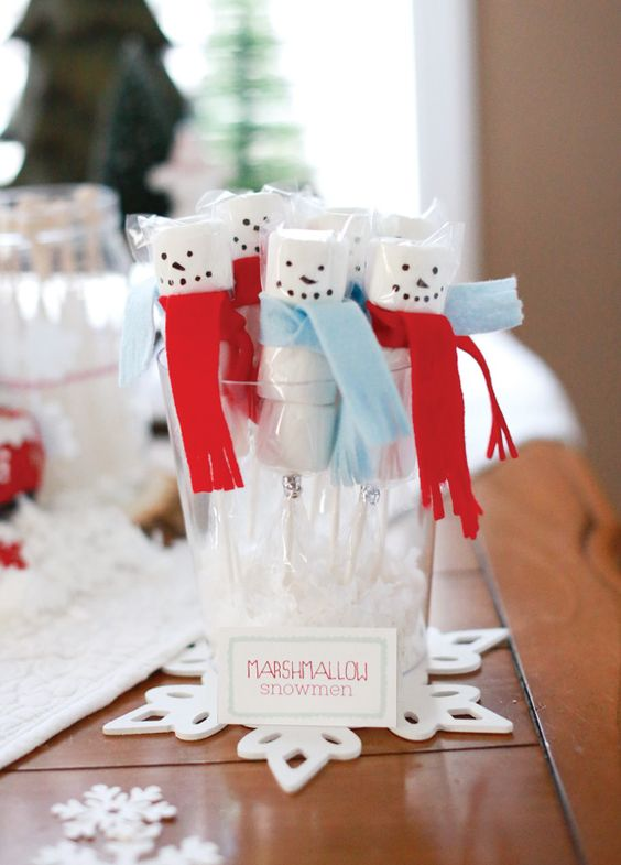 Marshmallow Snowmen Party Favors | Winter Wonderland Party Ideas