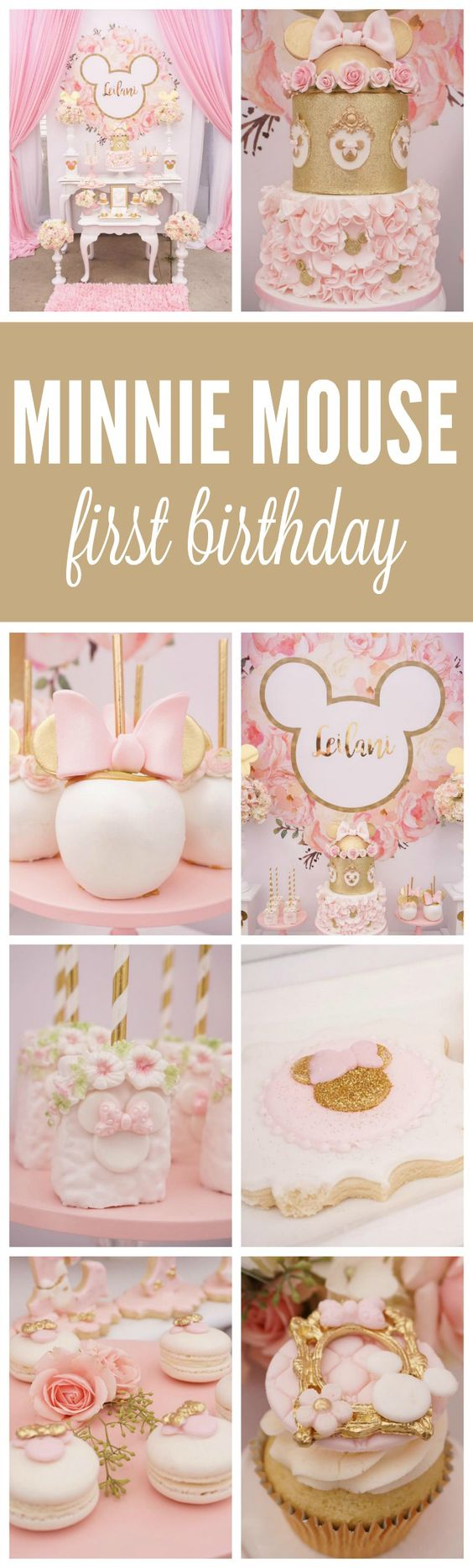 Pink and Gold Minnie Mouse First Birthday Party - Pretty My Party