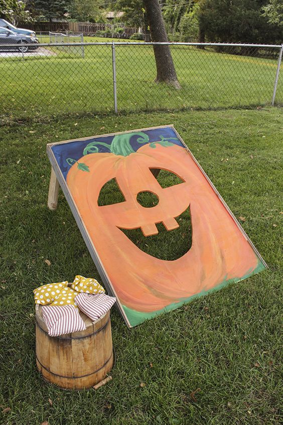 Pumpkin Bean Bag Toss Game | Fall Festival Party Ideas