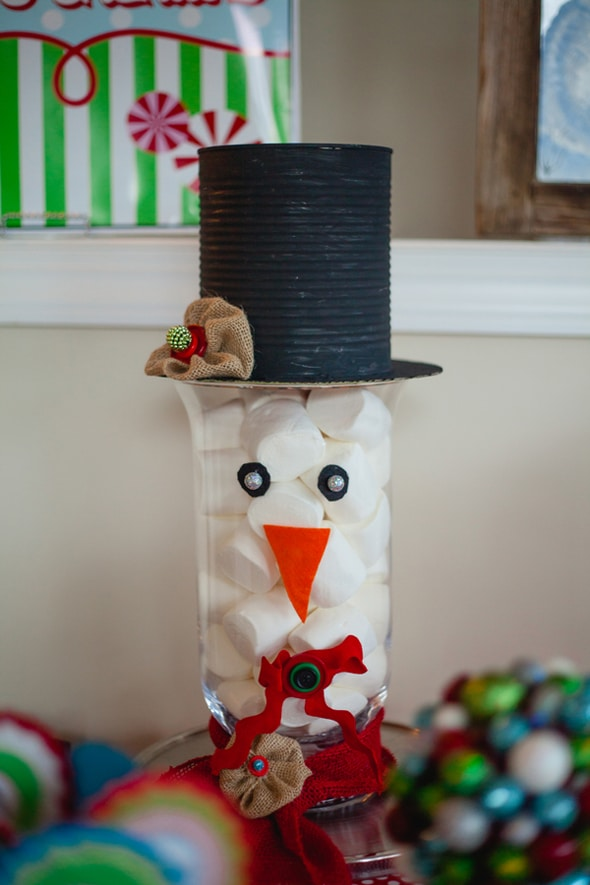 Snowman Marshmallow Jar Decoration | Winter Wonderland Party Ideas
