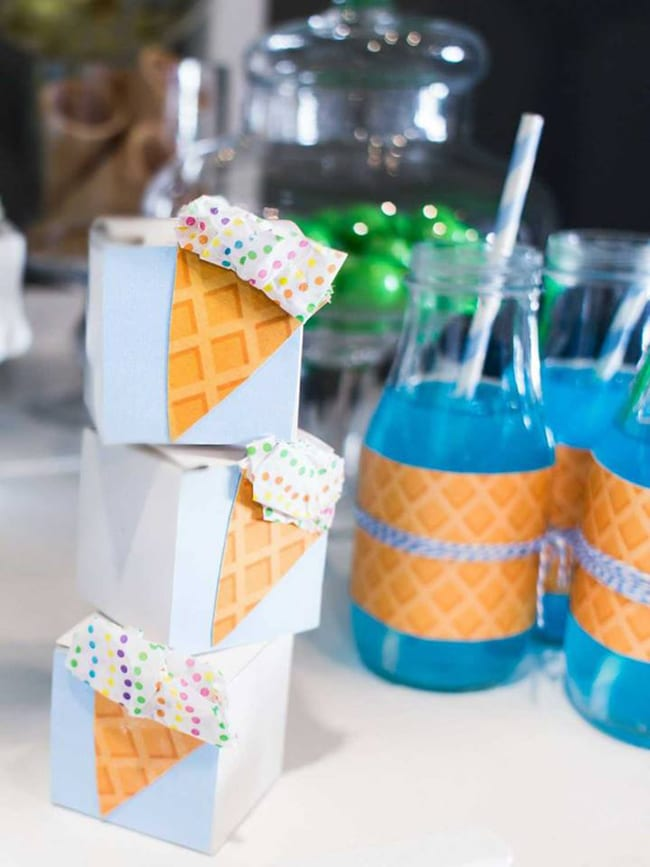 Ice Cream Party Drinks and Favor Boxes