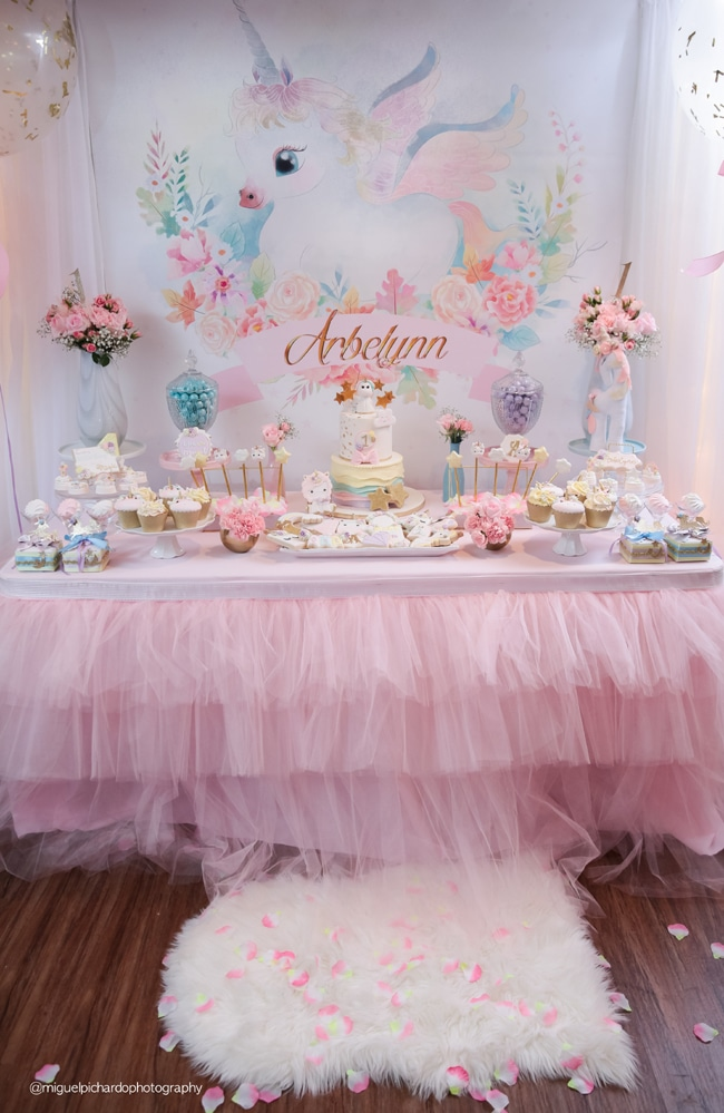 Baby Unicorn Themed First Birthday Party On Pretty My