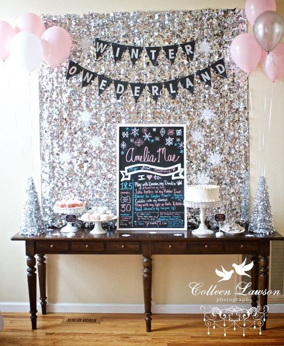 Sparkly Winter Wonderland Dessert Table | Winter Wonderland Party Ideas