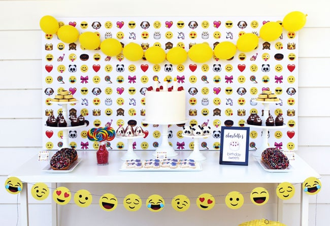 Awesome Emoji Themed 11th Birthday Party Dessert Table