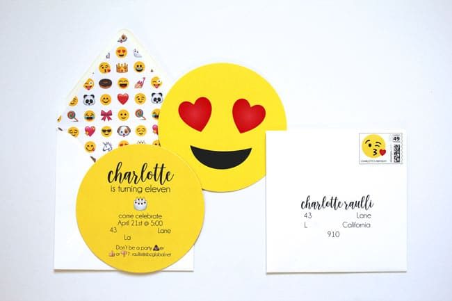 Awesome Emoji Themed 11th Birthday Party Invitation