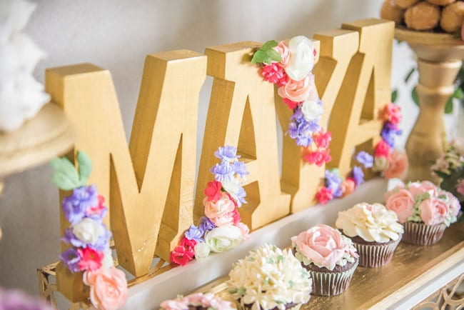 Gold Birthday Name Sign With Flowers For Garden Theme 1st Birthday