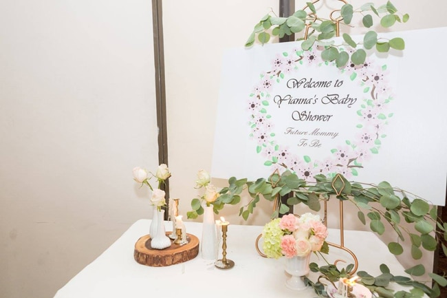 Blush Garden Themed Baby Shower Welcome Sign