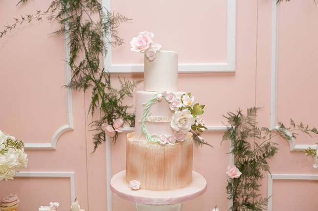 Blush Garden Themed Baby Shower Cake