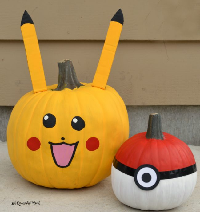 No Carve Pokemon Pumpkins for Halloween
