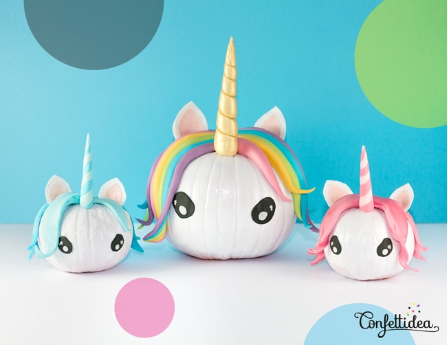 No Carve Unicorn Pumpkins for Halloween