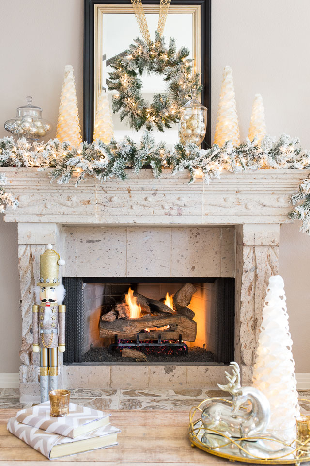 elegant gold and silver holiday fireplace decor