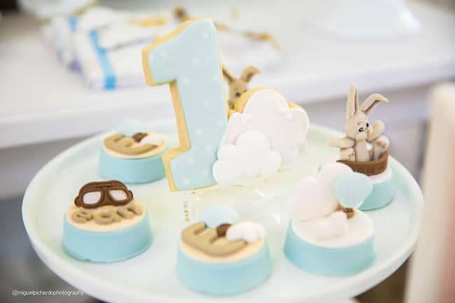 Boy's Hot Air Balloon First Birthday Desserts